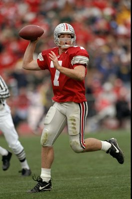21 Nov 1998: Quarterback Joe Germaine #7 of Ohio State looks to throw during the game against the Michigan Wolverines at Ohio Stadium in Columbus, Ohio. Ohio State defeated Michigan 31-16. Mandatory Credit: Rick Stewart  /Allsport