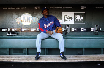 SAN FRANCISCO - OCTOBER 26:  Vladimir Guerrero #27 of the Texas Rangers sits in the dugout during a workout session at AT&T Park on October 26, 2010 in San Francisco, California. The Texas Rangers will face off against the San Francisco Giants in Game One