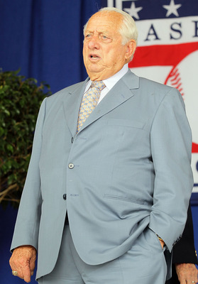 COOPERSTOWN, NY - JULY 25:  Hall of Famer Tommy Lasorda attends the Baseball Hall of Fame induction ceremony at Clark Sports Center on July 25, 20010 in Cooperstown, New York.  (Photo by Jim McIsaac/Getty Images)
