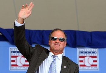 COOPERSTOWN, NY - JULY 26:  Hall of Famer Ryne Sandberg waves to the crowd as he is introduced at Clark Sports Center during the 2009  Baseball Hall of Fame induction ceremony on July 26, 2009 in Cooperstown, New York.  (Photo by Jim McIsaac/Getty Images)
