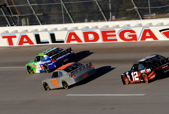 TALLADEGA, AL - NOVEMBER 02:  Nationwide COT drive cars on the track during testing for the NASCAR Nationwide Series new Car of Tomorrw at Talladega Superspeedway on November 2, 2009 in Talladega, Alabama.  (Photo by Rusty Jarrett/Getty Images for NASCAR)