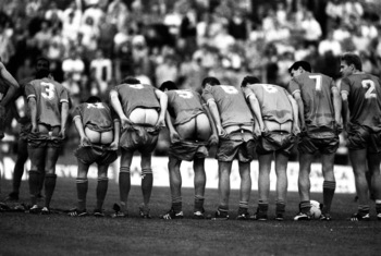 16 May 1988:  The wimbledon players show off their backsides in Crazy Gang style during a Testimonial match for Alan Cork. \ Mandatory Credit: Pascal Rondeau /Allsport