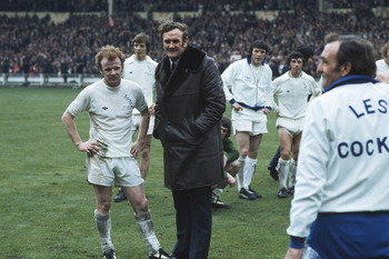 1973: Billy Bremner (left) and Leeds Manager Don Revie (right) chat before the FA Cup final against Sunderland at Wembley Stadium in London. Sunderland won the match 1-0. (Photo by Getty Images)