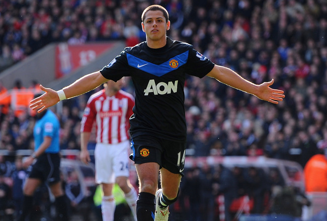 STOKE ON TRENT, ENGLAND - OCTOBER 24:  Javier Hernandez of Manchester United celebrates after scoring during the Barclays Premier League match between Stoke City and Manchester United at Britannia Stadium on October 24, 2010 in Stoke on Trent, England.  (