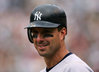 OAKLAND, CA - MAY 15:  Infielder Tino Martinez #24 of the New York Yankees smiles during the game against the Oakland Athletics at McAfee Coliseum on May 15, 2005 in Oakland, California.  The Yankees won 6-4.  (Photo by Jed Jacobsohn/Getty Images)