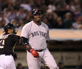 OAKLAND, CA - SEPTEMBER 10:  David Ortiz #34 of the Boston Red Sox reacts after striking out in the sixth inning of their game against the Oakland Athletics at the Oakland-Alameda County Coliseum on September 10, 2010 in Oakland, California.  (Photo by Ez