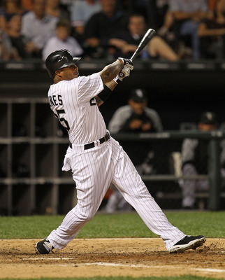 CHICAGO - AUGUST 25: Andruw Jones  #25 of the Chicago White Sox hits a fly ball against the Baltimore Orioles at U.S. Cellular Field on August 25, 2010 in Chicago, Illinois. The Orioles defeated the White Sox 4-2. (Photo by Jonathan Daniel/Getty Images)