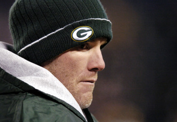 BALTIMORE - DECEMBER 19: Brett Favre #4 of the Green Bay Packers looks on against the Baltimore Ravens at M&T Bank Stadium on December 19, 2005 in Baltimore, Maryland. (Photo by Nick Wass/Getty Images)