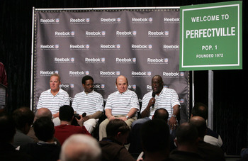 PHOENIX - FEBRUARY 01:  Former Miami Dolphins (L-R) Jim Kiick, Eugene 'Mercury' Morris, Garo Yepremian, and Larry Little answer questions during a press conference anouncing Reebok's new television campaign -dubbed 'Perfectville'- featuring members of the