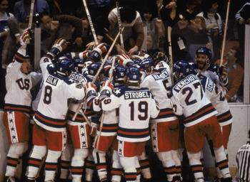 LAKE PLACID, NY - FEB 22:  Team USA celebrates their 4-3 victory over the Soviet Union in the semi-final Men's Ice Hockey event at the Winter Olympic Games in Lake Placid, New York on February 22, 1980.   The game was dubbed 'the Miracle on Ice'.  The USA