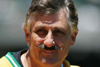 OAKLAND, CA - JULY 17:  Rollie Fingers look on as the Oakland Athletics celebrate the 30th anniversary of their 1974 World Championship team before the game against the Chicago White Sox at the Network Associates Coliseum on July 17, 2004 in Oakland, Cali