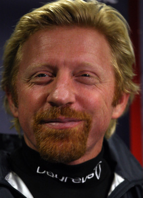 MILTON KEYNES, UNITED KINGDOM - DECEMBER 03:  Boris Becker of Germany gives a press conference during Laureus MotorV8 event at the Dayton Race Track, Milton Keynes on December 3, 2008 in Milton Keynes, EWngland.  (Photo by Ross Kinnaird/Getty Images for L