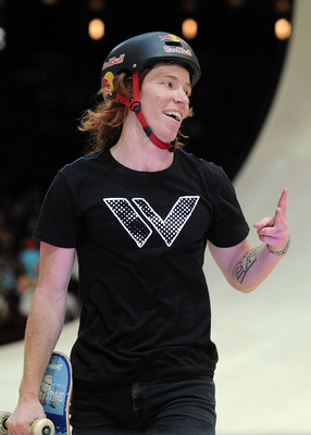 LOS ANGELES, CA - JULY 30:   Shaun White smiles as he leaves the ramp after a run as he competes in the Skateboard Vert Final during X Games 16 at the Nokia Theatre LA Live on July 30, 2010 in Los Angeles, California.  (Photo by Harry How/Getty Images)
