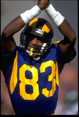 27 SEP 1992:  LOS ANGELES RAMS WIDE RECEIVER WILLIE 'FLIPPER'  ANDERSON SIGNALS A SAFETY CALL DURING THE RAMS 18-10 WIN OVER THE NEW YORK JETS AT ANAHEIM STADIUM IN ANAHEIM, CALIFORNIA.  MANDATORY CREDIT:  MIKE POWELL/ALLSPORT