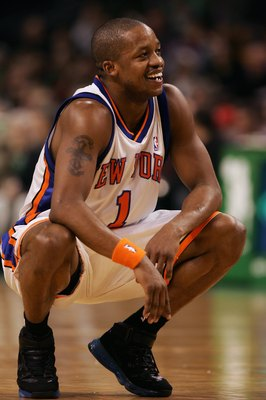 BOSTON - NOVEMBER 24:  Steve Francis #1 of the New York Knicks on the court during a game against the Boston Celtics at the TD Banknorth Garden on November 24, 2006 in Boston, Massachusetts.  The New York Knicks defeated the Boston Celtics 101-77. NOTE TO