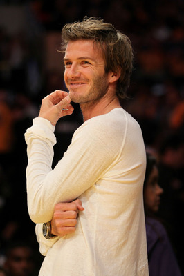 LOS ANGELES, CA - OCTOBER 26:  English footballer David Beckham looks on prior to the Los Angeles Lakers playing the Houston Rockets during their opening night game at Staples Center on October 26, 2010 in Los Angeles, California. NOTE TO USER: User expre