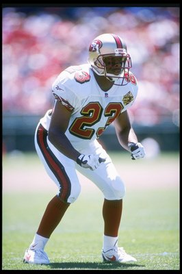 3 Aug 1996:  Defensive back Marquez Pope of the San Francisco 49ers looks on during a preseason game against the Denver Broncos at 3Com Park in San Francisco, California.  The Broncos won the game, 20-17. Mandatory Credit: Otto Greule Jr.  /Allsport