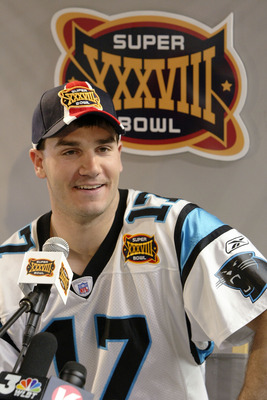 HOUSTON - JANUARY 27:  Quarterback Jake Delhomme #17 of the Carolina Panthers listens to a question on media day January 27, 2003 at the Reliant Stadium before Super Bowl XXXVIII against the New England Patriots in Houston, Texas.  (Photo by Brian Bahr/Ge
