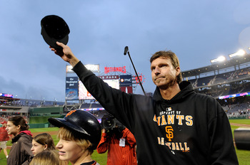 WASHINGTON - JUNE 04:  Randy Johnson #51 of the San Francisco Giants tips his hat to the crowd after winning his 300th career game against the Washington Nationals at Nationals Park on June 4, 2009 in Washington, DC.  The Giants won the game 5-1.  (Photo