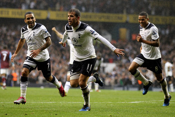 LONDON, ENGLAND - OCTOBER 02:  Rafael Van der Vaart of Spurs celebrates scoring their second goal during the Barclays Premier League match between Tottenham Hotspur and Aston Villa at White Hart Lane on October 2, 2010 in London, England.  (Photo by Paul