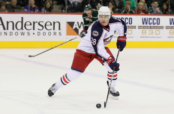 ST PAUL, MN - OCTOBER 16:  Nikita Filatov #28 of the Columbus Blue Jackets skates against the Minnesota Wild at Xcel Energy Center on October 16, 2010 in St Paul, Minnesota.  (Photo by Jeff Gross/Getty Images)