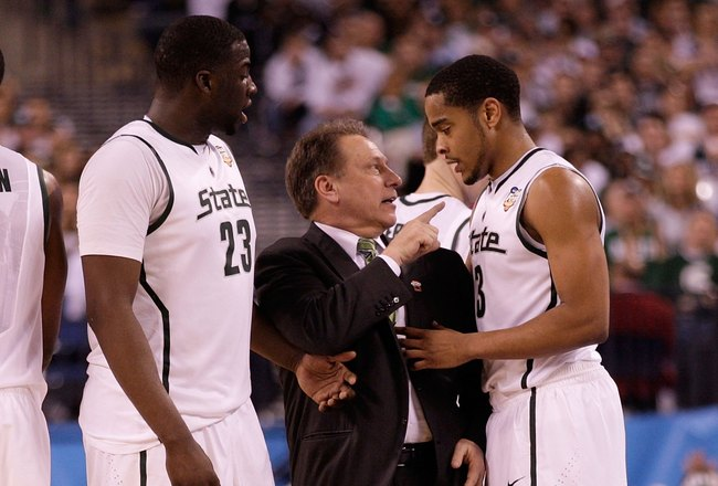 INDIANAPOLIS - APRIL 03:  Head coach Tom Izzo of the Michigan State Spartans talks with Chris Allen #3 from the sideline while taking on the Butler Bulldogs during the National Semifinal game of the 2010 NCAA Division I Men's Basketball Championship on Ap
