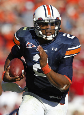AUBURN, AL - OCTOBER 16:  Quarterback Cam Newton #2 of the Auburn Tigers runs with the ball during the game against the Arkansas Razorbacks at Jordan-Hare Stadium on October 16, 2010 in Auburn, Alabama.  (Photo by Mike Zarrilli/Getty Images)