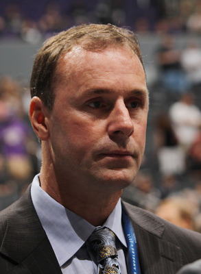 LOS ANGELES, CA - JUNE 25: Joe Nieuwendyk of the Toronto Maple Leafs works the draft floor during the 2010 NHL Entry Draft at Staples Center on June 25, 2010 in Los Angeles, California. (Photo by Bruce Bennett/Getty Images)