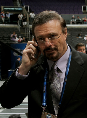 LOS ANGELES, CA - JUNE 25:  General Manager Rick Dudley of the Atlanta Thrashers speaks on the phone during the 2010 NHL Entry Draft at Staples Center on June 25, 2010 in Los Angeles, California.  (Photo by Bruce Bennett/Getty Images)
