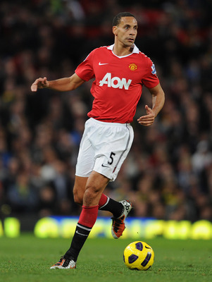 MANCHESTER, ENGLAND - OCTOBER 30:  Rio Ferdinand of Manchester United on the ball during the Barclays Premier League match between Manchester United and Tottenham Hotspur at Old Trafford on October 30, 2010 in Manchester, England.  (Photo by Michael Regan