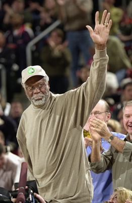 SEATTLE - FEBRUARY 11:  Former Celtic great Bill Russell waves during the game between the Boston Celtics and the Seattle Sonics at Key Arena on February 11, 2003 in Seattle, Washington.  The Celtics won 82-76.  NOTE TO USER: User expressly acknowledges a