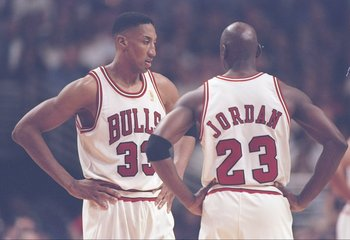 13 May 1997:  Forward Scottie Pippen and Michael Jordan (right) of the Chicago Bulls confer during a playoff game against the Atlanta Hawks at the United Center in Chicago, Illinois.  The Bulls won the game 107-92. Mandatory Credit: Jonathan Daniel  /Alls