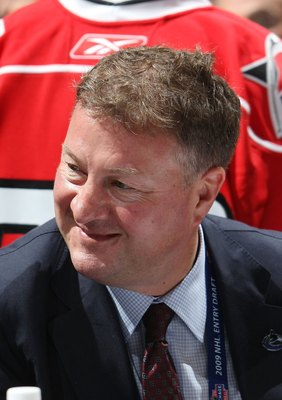 MONTREAL, QC - JUNE 27:  Mike Gillis of the Vancouver Canucks photographed during the 2009 NHL Entry Draft at the Bell Centre on June 27, 2009 in Montreal, Quebec, Canada.  (Photo by Bruce Bennett/Getty Images)
