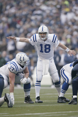 SEATTLE - DECEMBER 24:  Quarterback Peyton Manning #18 of the Indianapolis Colts calls out signals against the Seattle Seahawks at Qwest Field on December 24, 2005 in Seattle, Washington. The Seahawks defeated the Colts 28-13.  (Photo by Otto Greule Jr/Ge