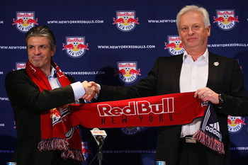 HARRISON, NJ - JANUARY 13:  General Manager Erik Soler (L) introduces Hans Backe (R) as the new head coach of the New York Red Bulls during a press conference at Red Bull Arena on January 13, 2010 in Harrison, New Jersey.  (Photo by Mike Stobe/Getty Image