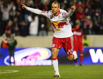HARRISON, NJ - MARCH 27:  Joel Lindpere #20 of the New York Red Bulls celebrates his goal in the 40th minute against the Chicago Fire on March 27, 2010 at Red Bull Arena in Harrison, New Jersey. (Photo by Mike Stobe/Getty Images for New York Red Bulls)