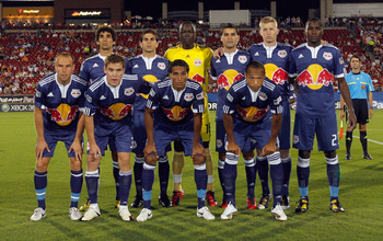 FRISCO, TX - SEPTEMBER 16:  The starting lineup for the New York Red Bulls pose for a group photo before taking on FC Dallas at Pizza Hut Park on September 16, 2010 in Frisco, Texas.  (Photo by Tom Pennington/Getty Images)