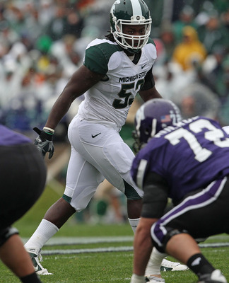 EVANSTON, IL - OCTOBER 23: Greg Jones #53 of the Michigan State Spartans awaits the start of play against the Northwestern Wildcats at Ryan Field on October 23, 2010 in Evanston, Illinois. Michigan State defeated Northwestern 35-27. (Photo by Jonathan Dan