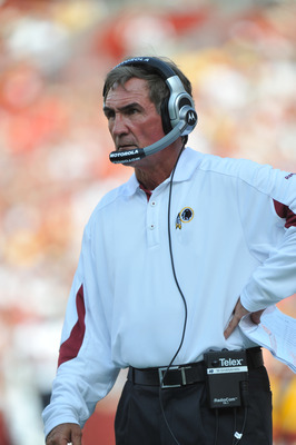 LANDOVER, MD - SEPTEMBER 19:  Head coach Mike Shanahan of the Washington Redskins coaches against the Houston Texans at FedExField on September 19, 2010 in Landover, Maryland. The Texans defeated the Redskins in overtime 30-27. (Photo by Larry French/Gett
