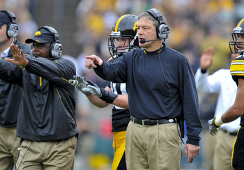 IOWA CITY, IA - OCTOBER 23- Kirk Ferentz head coach of the University of Iowa Hawkeyes looks on from the sidelines during the  second half against the Wisconsin Badgers during the first half of play at Kinnick Stadium on October 23, 2010 in Iowa City, Iow