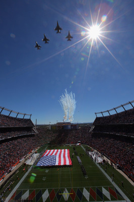 DENVER - SEPTEMBER 19:  US Military jets fly over the stadium as the national anthem is observed as the Seattle Seahawks face the Denver Broncos at INVESCO Field at Mile High on September 19, 2010 in Denver, Colorado. The Broncos defeated the Seahawks 31-