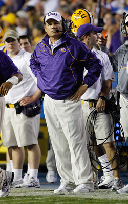 GAINESVILLE, FL - OCTOBER 09:  Head coach Les Miles of the Louisiana State University Tigers watches the action during the game against the Florida Gators at Ben Hill Griffin Stadium on October 9, 2010 in Gainesville, Florida.  (Photo by Sam Greenwood/Get