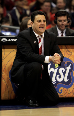 LOS ANGELES, CA - MARCH 11:  Arizona Wildcats head coach Sean Miller calls out a play against the UCLA Bruins during the Quarterfinals of the Pac-10 Basketball Tournament at Staples Center on March 11, 2010 in Los Angeles, California. UCLA defeated Arizon