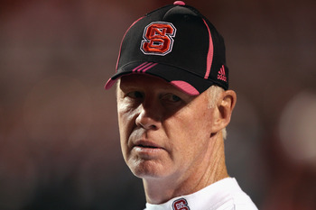 RALEIGH, NC - OCTOBER 28:  Head coach Tom O'Brien of the North Carolina State Wolfpack watches on before their game against the Florida State Seminoles at Carter-Finley Stadium on October 28, 2010 in Raleigh, North Carolina.  (Photo by Streeter Lecka/Gett