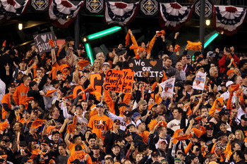SAN FRANCISCO - OCTOBER 28:  San Francisco Giants fans cheer in the eighth inning while taking on the Texas Rangers in Game Two of the 2010 MLB World Series at AT&T Park on October 28, 2010 in San Francisco, California.  (Photo by Justin Sullivan/Getty Im