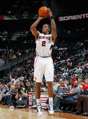 ATLANTA - OCTOBER 21:  Joe Johnson #2 of the Atlanta Hawks against the Miami Heat at Philips Arena on October 21, 2010 in Atlanta, Georgia.  (Photo by Kevin C. Cox/Getty Images)