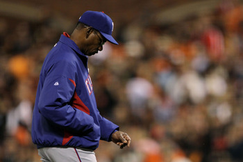 SAN FRANCISCO - OCTOBER 28:  Manager Ron Washington of the Texas Rangers walks to the mound in the eighth inning while taking on the San Francisco Giants in Game Two of the 2010 MLB World Series at AT&T Park on October 28, 2010 in San Francisco, Californi