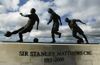 STOKE - 17 MAY:  General view of the Sir Stanley Matthews Statue at the Britannia Stadium, home of Stoke City FC in Stoke, England on May 17, 2002. Matthews made 355 appearances for Stoke in two spells scoring 62 goals from 1932 to '47 and 1961 to '65. (p