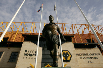 WOLVERHAMPTON, UNITED KINGDOM - JANUARY 31:  A Statue of Wolverhampton legend Billy Wright stands outside the stadium during the Coca-Cola Championship match between Wolverhampton Wanderers and Watford at Molineux Stadium on January 31, 2009 in Wolverhamp
