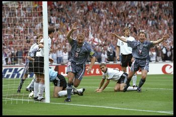 26 Jun 1996:  Alan Shearer (number 9) scores for England during the European championship semi final match between England and Germany at Wembley Stadium, London. Germany won the match after extra time in a penalty shoot out 1(6) 1(5). Mandatory Credit:Ro